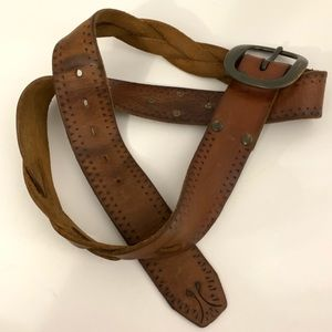 VTG Lucky Leather plus sz 38 braid Leather Belt